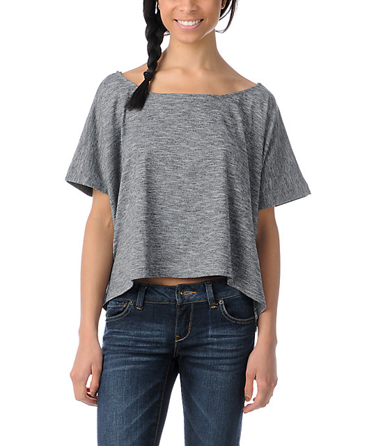 Element Bohemian Heather Black Knit Crop Top