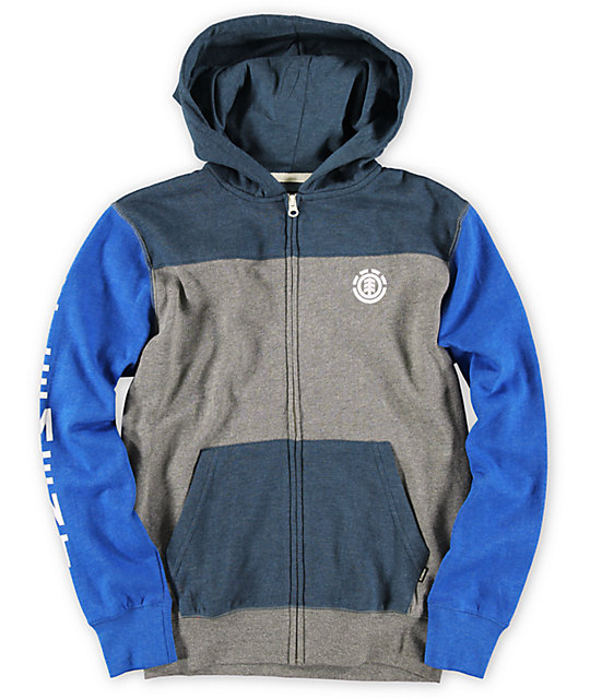 Element Boys Austen Blue & Grey Zip Up Hoodie