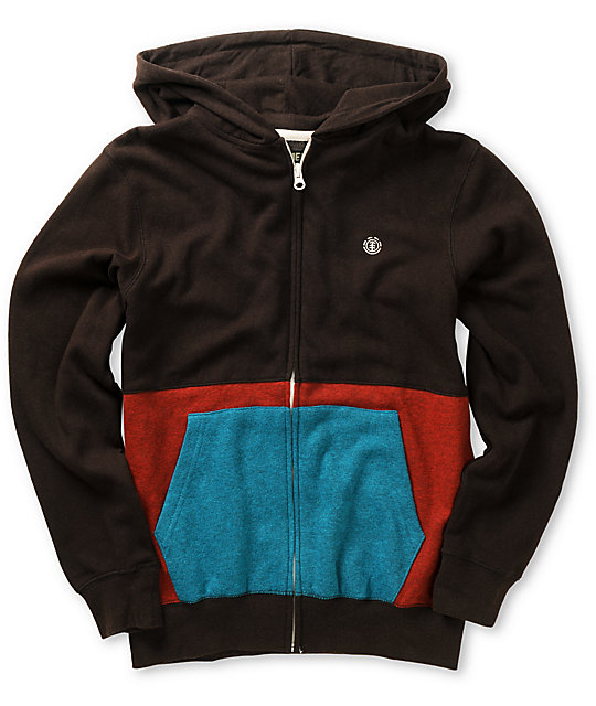 Element Boys Haven Brown, Red & Teal Zip Up Hoodie