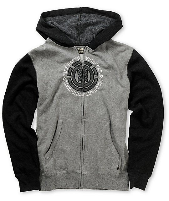 Element Boys Major League Heather & Charcoal Zip Up Hoodie