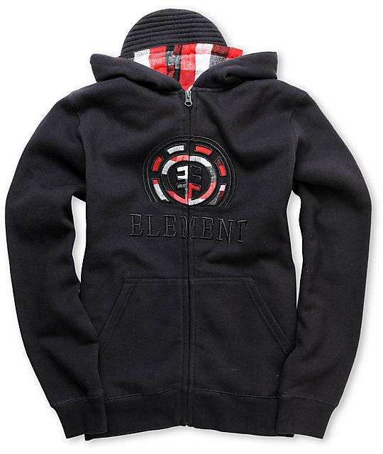 Element Boys Milton Applique Black Zip Up Hoodie