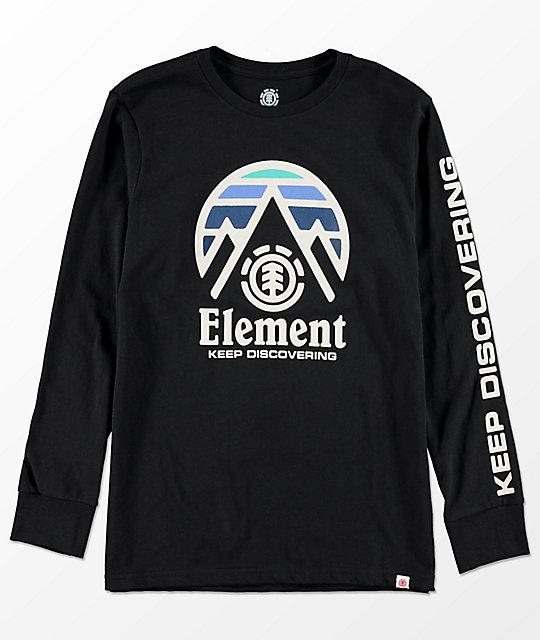 Element Boys Tri Tip Black Long Sleeve T-Shirt