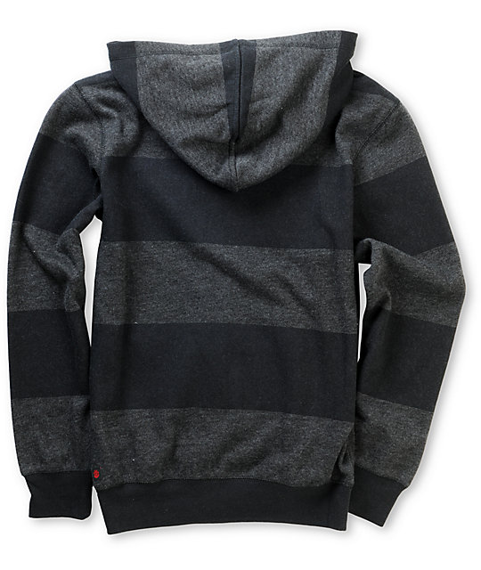 Element Boys Varsity Black Stripe Zip Up Hoodie
