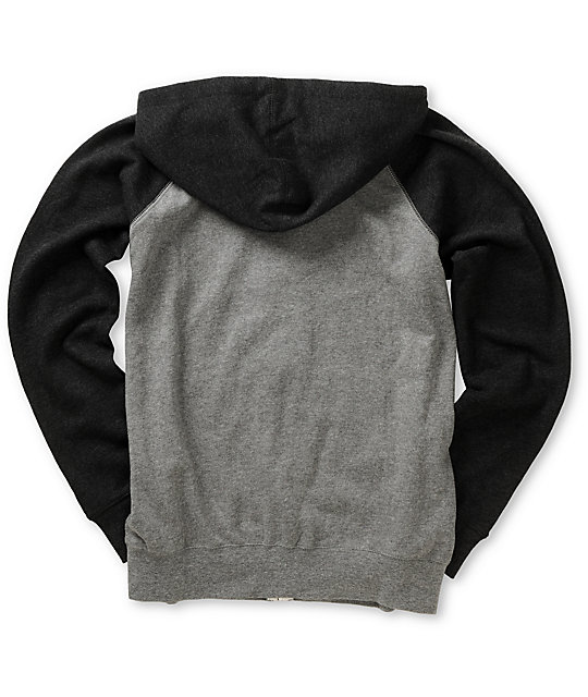 Element Boys Vermont Grey & Charcoal Zip Up Hoodie