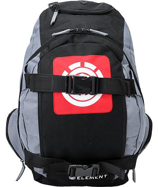 Element Branded Black, Grey, & Red Skate Backpack