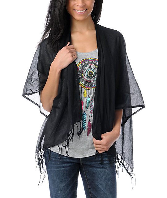 Element Carmen Black Woven Wrap Top