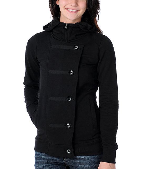 Element Chester Black Hooded Fleece Jacket