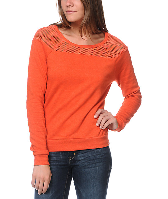 Element Court Fashion Poppy Orange Crew Neck Sweatshirt