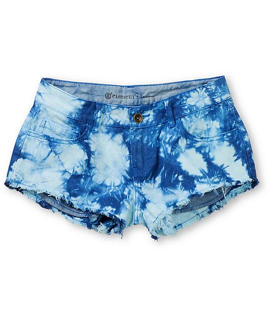 Element Descent Blue Tie Dye Cut Off Shorts