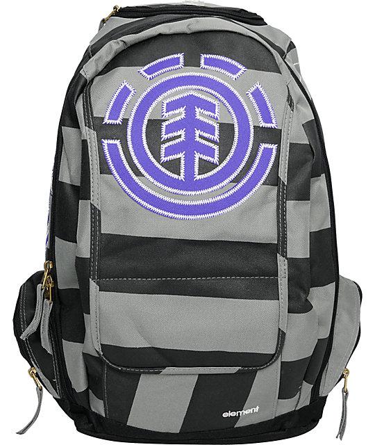 Element Gamine Black & Grey Stripe Backpack