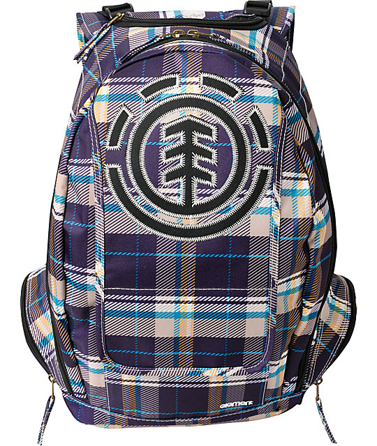 Element Gamine Plum Plaid Backpack