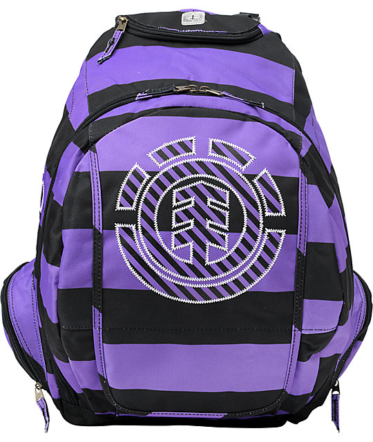 Element Girls Gamine Stripe Charcoal & Purple Backpack