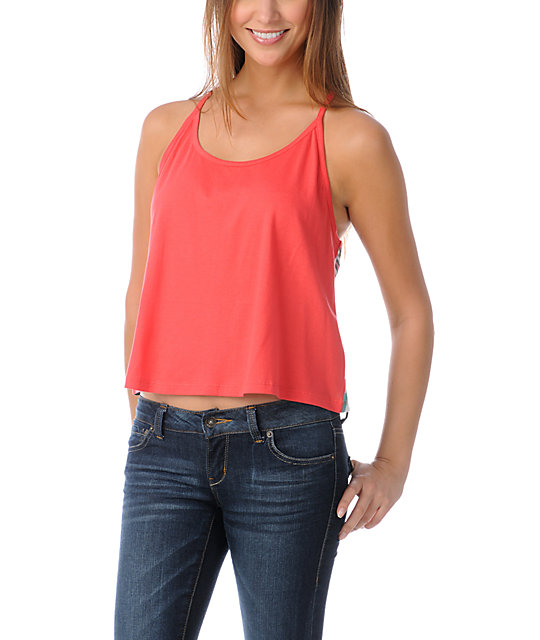 Element Iris Fire Red Printed Back Tank Top