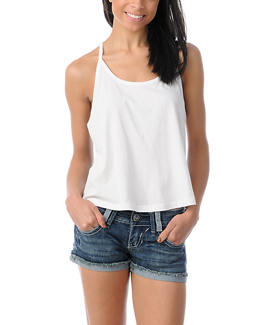 Element Iris White Printed Back Tank Top