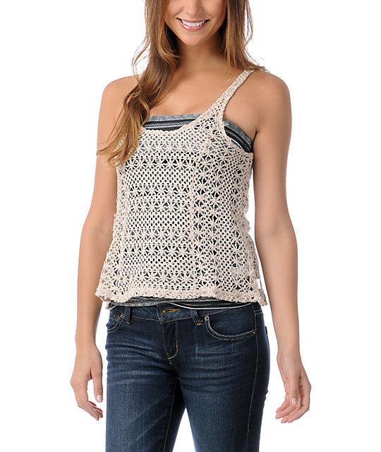 Element Jamie Natural Crochet Tank Top