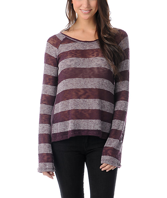 Element Jasmine Blackberry Stripe Knit Sweater