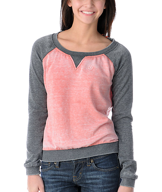 Element Jetta Coral & Grey Crew Neck Sweatshirt