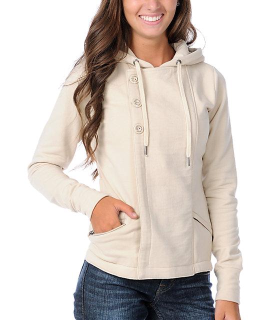 Element Jonze Cream Fleece Hooded Moto Jacket
