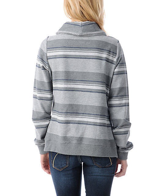 Element Josefien Heather Grey Stripe Wrap Sweatshirt