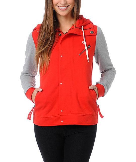 Element Julianne Red & Grey Varsity Hoodie