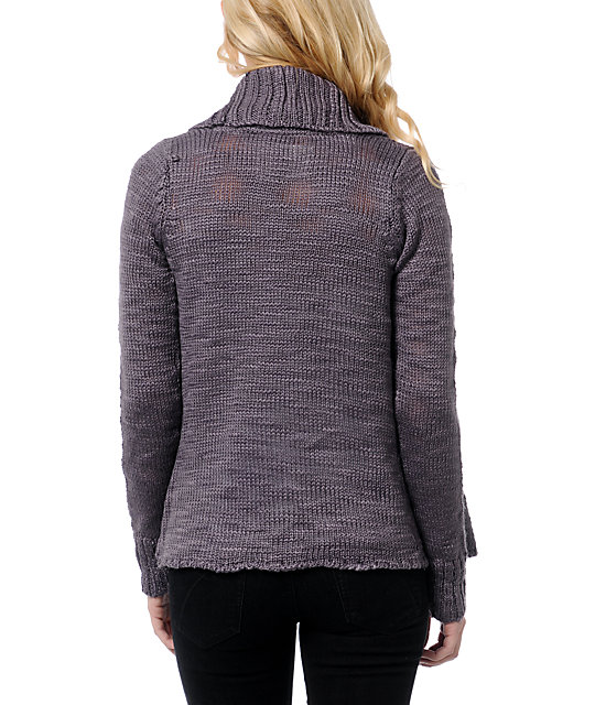 Element Lariat Purple Wrap Sweater