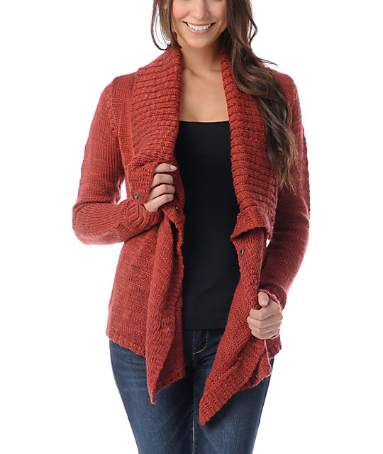 Element Lariat Red Wrap Sweater