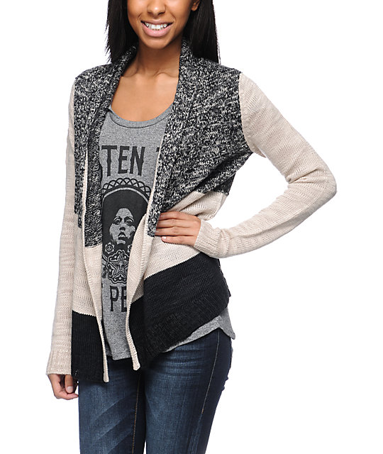 Element Minka Natural & Black Wrap Cardigan Sweater