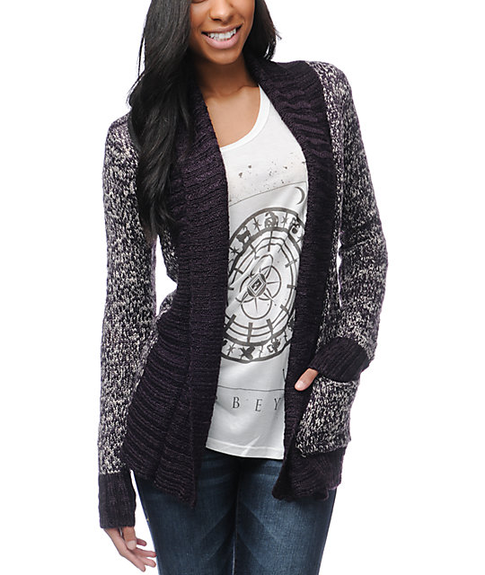 Element Mott Wrap Eggplant Cardigan Sweater