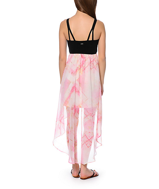 Element Natalia Black & Pink Chiffon High Low Dress