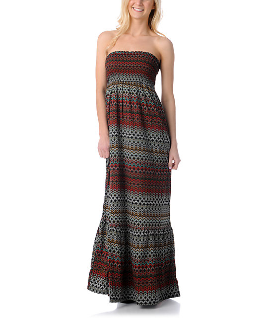 Element Polynesia Red Print Maxi Dress