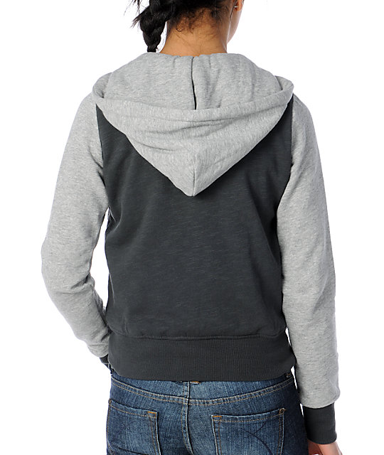 Element Sandbox Charcoal Hooded Letterman Jacket