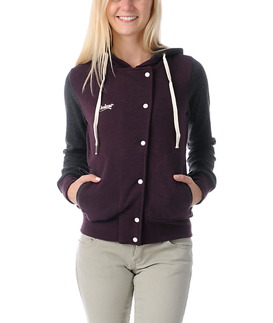 Element Sandbox Eggplant Hooded Varsity Jacket