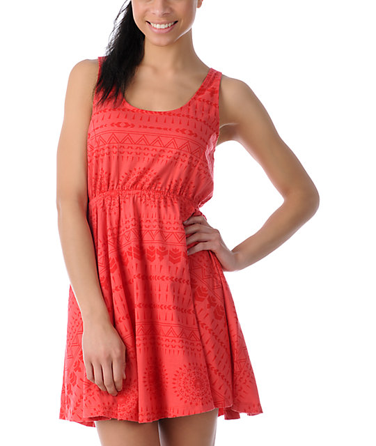 Element Sharon Fire Red Crochet Back Tank Dress