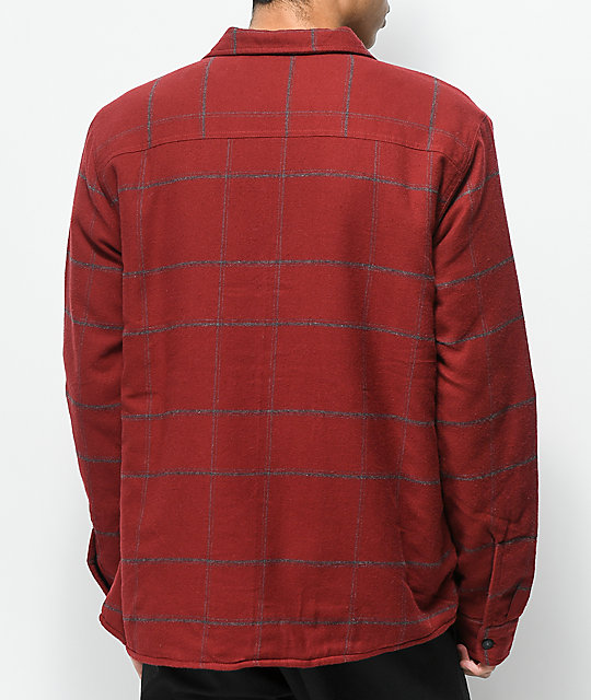 Element Shelton Red Sherpa Button Up Flannel Shirt