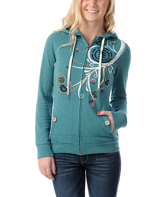 Element Skylark Oasis Blue Embroidered Zip Up Hoodie