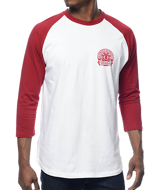 Element Southpaw White & Maroon Baseball T-Shirt