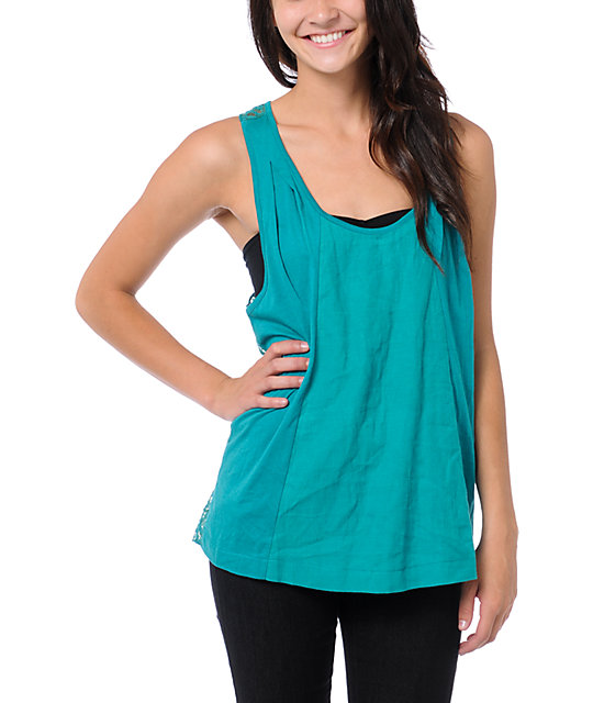 Element Spell Emeral Teal Crochet Back Tank Top