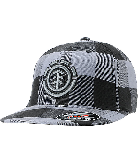 Element Traffic Charcoal & Black Plaid Flexfit Hat