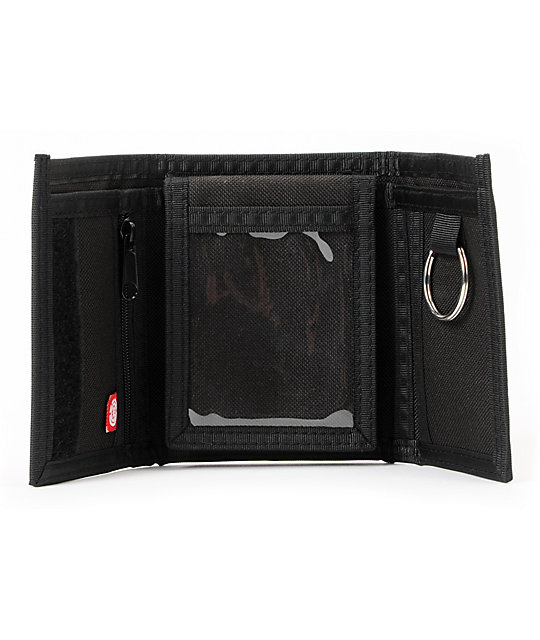 Element Tri City Black Tri-Fold Hook And Loop Fastener Wallet