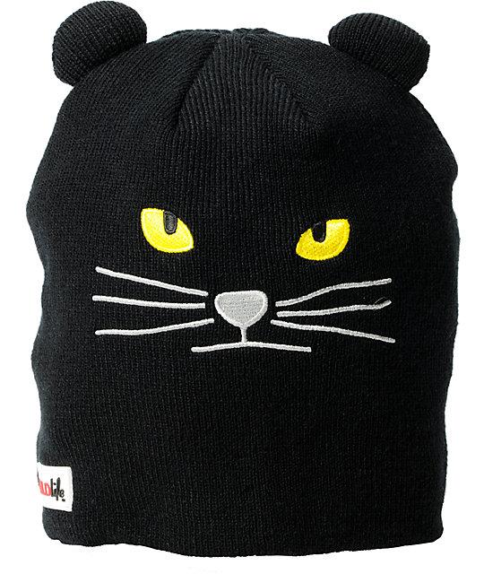 Elm Wildlife Cat Black Beanie