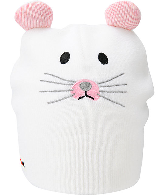 Elm Wildlife Mouse White Beanie