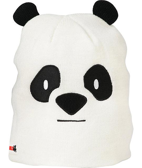 Elm Wildlife Panda White Beanie