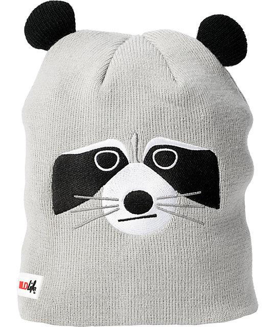 Elm Wildlife Raccoon Grey Beanie