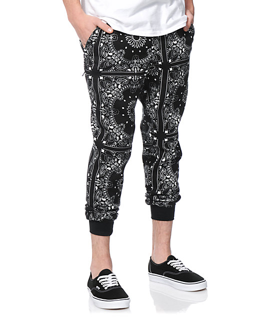 Elwood Bandana Black Fleece Skinny Jogger Pants