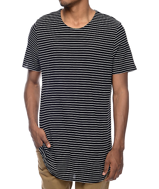 Elwood Black White Stripe Thermal Tall T Shirt
