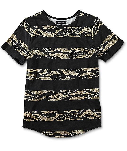 Boys Camo Stripe Curved Hem Black T-Shirt