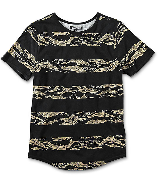 Elwood Boys Camo Stripe Curved Hem Black T-Shirt at Zumiez : PDP