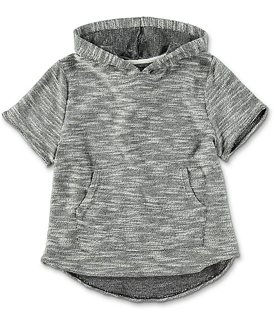 Boys Heather Grey Short Sleeve Hoodie