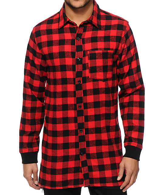 elwood extra long side zip flannel shirt zumiez