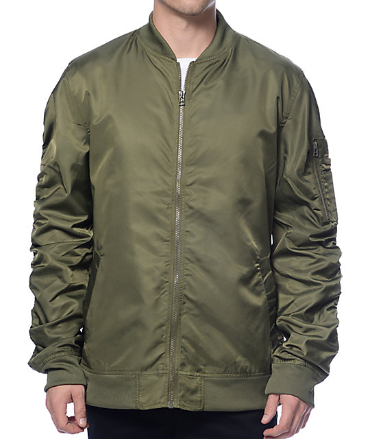 Elwood Military Green Nylon Bomber Jacket | Zumiez